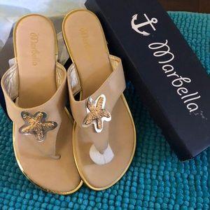 New in Box Marbella Tan Gold Starfish Sandals